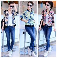 New fashion Spring Autumn Long sleeve Plus size Vintage Print casual jacket women cardigans coat 2014