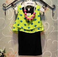 baby clothing wholesale children's clothing Pling Polka Dot Girls vest dress A3374