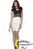 Lace Patchwork Plus Size XXL New Summer Dress 2014 Women Work Dress Sexy Dress Short Sleeve Party Dresses Roupas Femininas