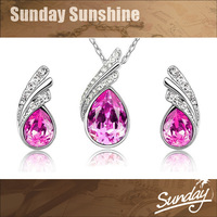 Fashion Jewelry Austrian Crystal Earrings Necklace Set five colors crystal Jewelry set Bridal Jewelry Set