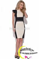 Bandage Dress 2014 New Arrival Women Elegant Embroidery Bodycon Dresses New Fashion Patchwork Autumn Pencil Dress