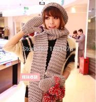 Новый Специальный шарф шляпа перчатки трехсекционный прекрасная женщина двойной плюшевой густой теплой зимой из искусственного меха
