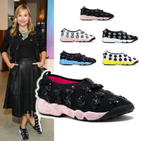 Top Quality Womens Sequins Beads Flowers Comfort Sneakers Walking Shoes 3 Color Free Shipping