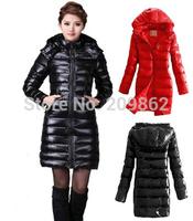 2014 new  free shipping high quality women brand down jackets long moka mat black white duck down coats for woman
