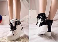 New Platform Shoes 2014 vivi Fashion Vintage Casual Shoes Woman Creepers Platform Shoes Women Flats Black White Size 35-39