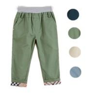 New Children Washed Pants England Style Bottom Plaid Boys Full Length Pants Trousers Spring Kids Leisure Slacks Elastic Waist