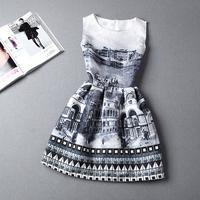 S-XL 8COLORS 2014 autumn plus size women's temperament Slim Printed Sleeveless Puff Dress #XU04