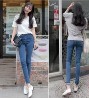 2014 New In Fashion Women Long Pencil Jeans Korean Style Middle Waist Waist All Match Slim Female Denim Pencil Pants Plus Size