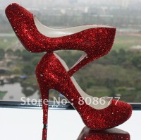Wholesale 2012 Sexy Luxury Crystal Rhinestone Ankle High Heels Party Bridal Shoes Red Bottom