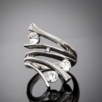 Promotion Trendy Bijoux Platinum Plated Bulgary Ring Austrian Crystal Diamond Wedding Rings For Women And Man  ER029