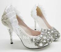 Free Shipping Exclusive Evening Wedding White Crystal Rhinestone Round Toe Bridal High Heels Shoes