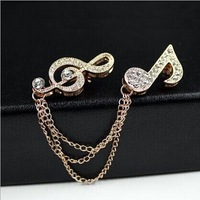high quality full rhinestone inlay musicle symbol brooches for women gold plated broquet wholesale gifts
