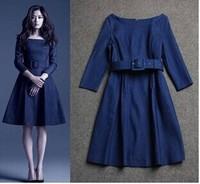 Brand Fashion Jeans Dress O Neck Long Sleeve vestido de festa longo Elegant Women Work Wear Knee Length Formal dress