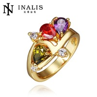 R430 WholesaleHigh QualityNickle Free AntiallergicNew Fashion Jewelry 18K Real Gold PlatedRing For Women Free Shipping