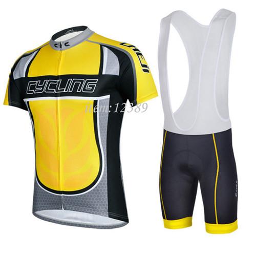 One piece drop shipping free shipping New 2014 CYCLING LEGEND YELLOW Maillot Short Sleeve Bike Jersey + BIB Shorts(China (Mainland))
