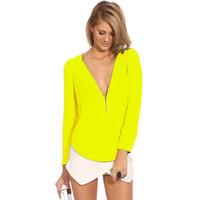 blusas femininas 2014 women blouse chiffon long sleeve Female Formal Brand Tops V Neck Zipper camiseta feminina manga longa