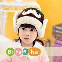 2014 New Big beard baby girls knitting Hats Winter Fur Hat with villi inner Kids Earflap Cap 2-5 Years Old