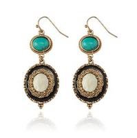 Australia Earrings For Women 49*26mm Gold Plated Semi-precious Stone Trendy Geometric Green Multicolour Brinco Longo