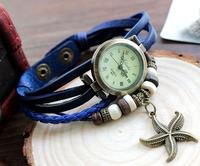 Special Price Women watch Big discount Antique Wristwatch hand-knitted Leather strap Round bronzy watchcase Quartz Watch 4color