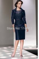 Wholesale - 2014 taffeta short navy short bridal gown mother being jacket knee - length skirt