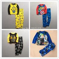 Free shipping children boy LEGO star war MARVEL COMICS Transformers despicable me winter long sleeves pajamas pyjamas sleepwear
