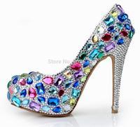 Luxury Diamond High Heels Platform Bridal Pumps Shoes Women Crystal Rhinestone Wedding Party Shoes Blue 16cm
