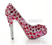 Most Luxury Handcraft  Red Diamond High Heels Wedding Dress Pumps Shoes 2014
