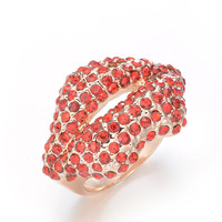 Free shipping New arrival  Gold plated Red Mouth crystal Ring