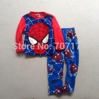 Free shipping children kids boy spider-man Fleece winter long sleeves pajamas pyjamas sleepwear