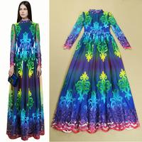 Best Quality New Brand European High Fashion 2014 Evening Dress Women Gradient Color Appliques Flower Long Sleeve Dress Evening