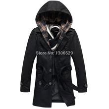 2014 Fashion Autumn winter long hooded mens trench coat men supreme x face overcoat man cloak clothing pea coats windbreaker(China (Mainland))