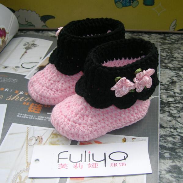 Nouveau - né bébé au chaud chaussures d'hiver à la main au crochet chaussures solides Floray Toddler mode bébé filles nouveau - né Sapato Infantil bottes(China (Mainland))