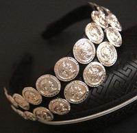 European and American fashion retro baroque beauty portrait picture metal coins headband headdress hair accessories