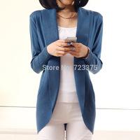 2014 New Fashion Women shawl Cardigan Sweater Lady loose Long sleeve Casual Slim 100% Cotton Solid female Knitwear cardigan Coat