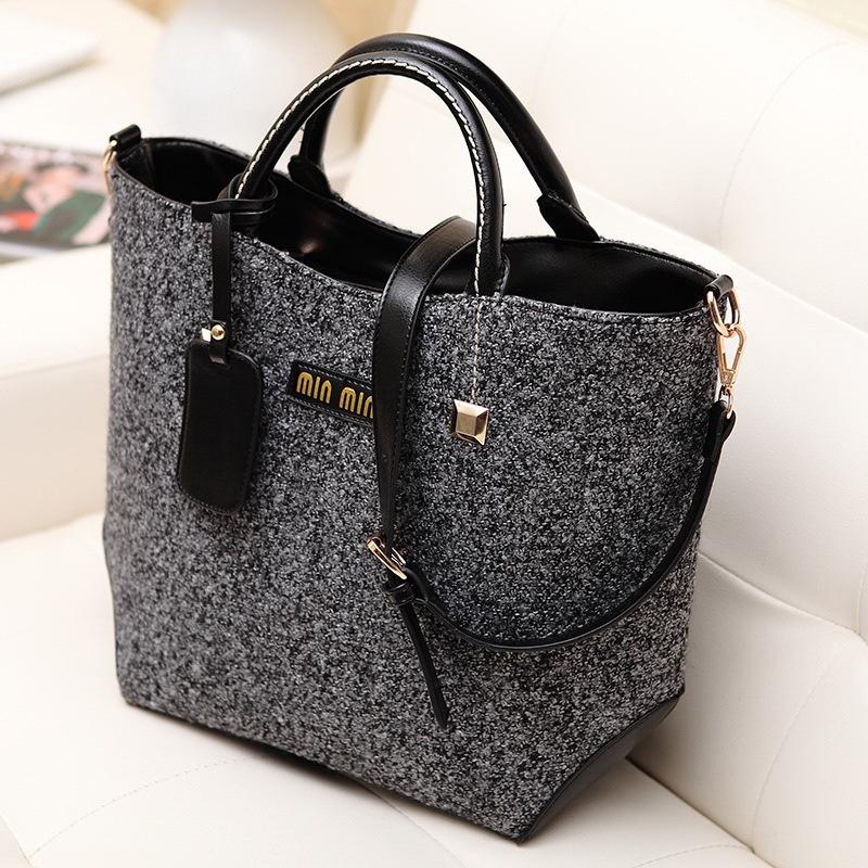 Fashion classical design woolen and PU women bag, leather handbag/ shoulder bag WLHB824(China (Mainland))