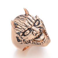 Hot sale  Christmas Gift  European and American Style  18K Gold plated CC  Exaggeration Punk the Skull oil paintting  Ring
