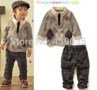 2014 New cotton Toddlers children baby boy's girl's autumn spring 2pcs clothing set suit Pattern baby shirt+pants sets Freeshipp