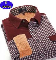 New  2014  winter men Warm Thick  Liner Corduroy shirt Casual fashion  patchwork  long sleeve  MGPG001  XS S  M L XL XXL 3XL 4XL