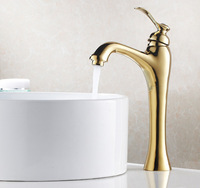 Luxury Gold Ti-PVD Single Handle Solid Brass Tall Bathroom Vanity Sink Faucet / Basin Tap / Torneira Mixer (UP-6639K)