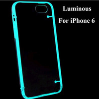 10pcs/lot New Ultra clear TPU+PC Case Cover for iPhone 6 Light Glow in the Dark Luminous hard Transparent phone case for iphone6