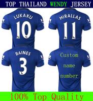 A+++ Mirallas Lukaku Eto'o Baines 14 15 Everton Soccer Jersey Thailand Kit Thailand Futbol Shirt Custom