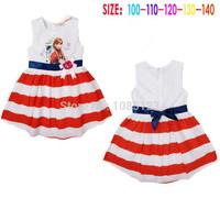 1-St Free shipping 2014 summer wear dresses frozen kids frozen dress anns dress elsa dress 5pcs/lot