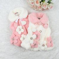 2014 Korean fashion Winter 3D flower girls fur vest autumn kids coats 4 pcs/lot