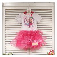1-St Free shipping 2014 summer wear dresses frozen The bright pink dress princess dress anna dress 5pcs/lot