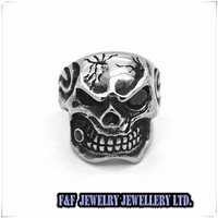 New Men's Skull  CZ Eyes Cigar Huge Heavy Biker 316L Silver Stainless Steel Ring US Size:8-13#,Free shipping,R#80