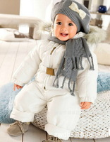 Free shipping Baby boys girls Autumn  winter clothing sets Hooded cotton-padded jackets+overalls 2pcs set 3sets/lot