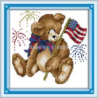 July Bear Counted Cross Stitch 11CT 14CT DMC Cross Stitch DIY Cross Stitch Kits for Embroidery Home Decor Handmade Needlework