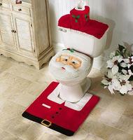 Three-piece Set Christmas Decorations Happy Santa Toilet Seat Cover And Rug Set Bathroom Innovative Item Free Shipping