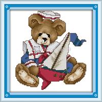 June Bear Counted Cross Stitch 11CT 14CT DMC Cross Stitch DIY Cross Stitch Kits for Embroidery Home Decor Handmade Needlework