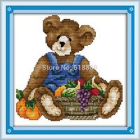 November Bear Counted Cross Stitch 11CT 14CT DMC Cross Stitch DIY Cross Stitch Kits for Embroidery Home Decor Needlework